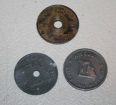 2 Missouri Sales Tax Receipt Tokens AND 1 Oklahoma Comsumer Tax Token
