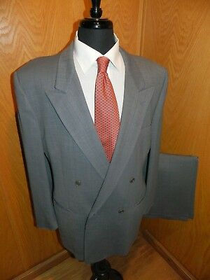 Capella Mens Suit 42r 36 X 31  Light Blue Weave  100%  Wool  Double Breast T#110