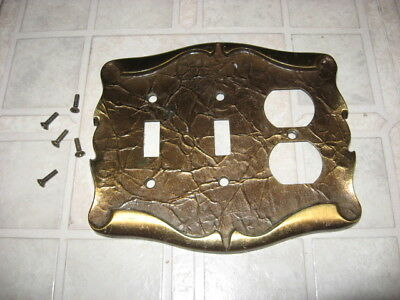 brushed bronze DOUBLE SWITCH & OUTLET PLATE, 2 toggles & outlet cover, metal