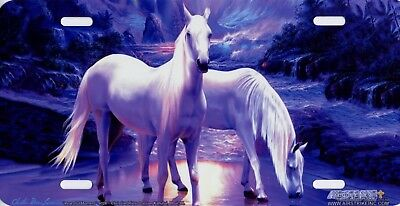 Horses White Peaceful Horse Art Color Vanity License Plate Sign Aluminum NEW