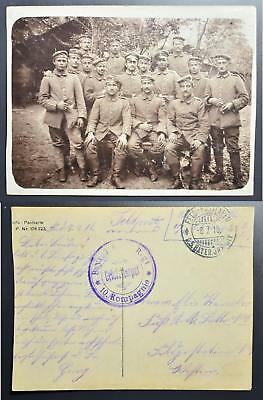 GERMANY 1916 original WWI Soldiers Troup Photo Pic PPC from/to.LOOK, Deutschland