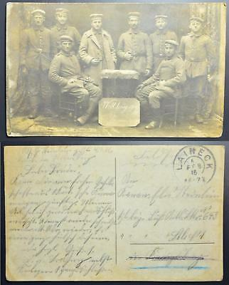 GERMANY 1916 original WWI Soldiers Troup Photo Pic PPC LAINECK to., Deutschland