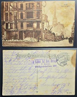 GERMANY France 1916 Destroyed LILLE Pic PPC by German Fieldpost to., Deutschland