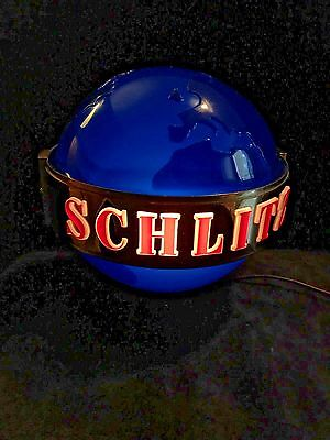 Wall Mounted 1956 Schlitz Beer Sign Rotating Blue Globe With Belt Form 195 (#3)