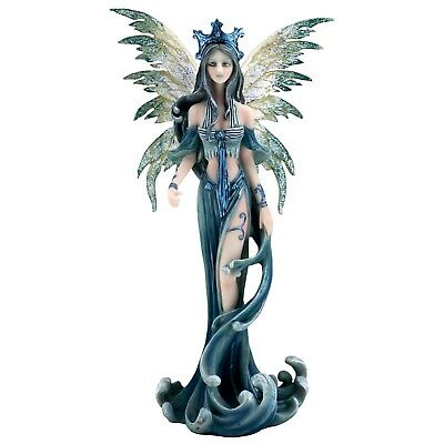 """Blue and Green Water Fairy Figurine Statue 9.75"""" High Resin New In Box"""
