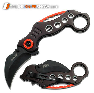 BLACK KARAMBIT SPRING ASSISTED POCKET KNIFE Tactical Open Folding Claw Blade EDC