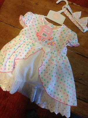 Fenwicks Baby Dress 12-18 Months With Headband And Pants