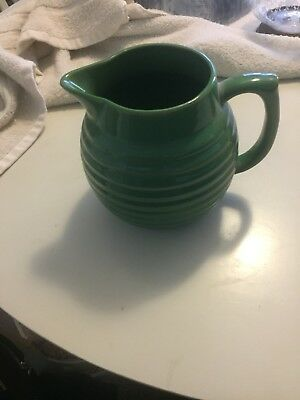 Vintage Green Ribbed Pitcher-Over And Back Yellow Ware Pottery