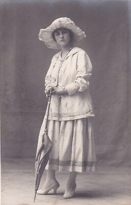 EGYPT OLD VINTAGE PHOTOGRAPH.CUTE LADY WITH HAT & Umbrella