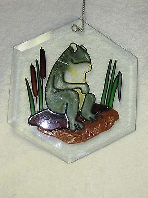 "Vintage STAINED GLASS Frog Window Decoration Beveled Glass HEXAGON 14"" Chain"