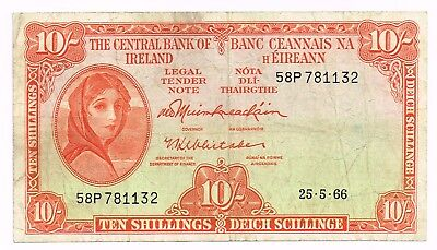 1966 IRELAND 10 SHILLINGS NOTE - p63a