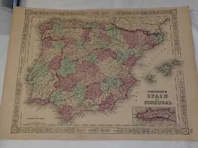 """1863 JOHNSON'S SPAIN AND PORTUGAL hand colored by Johnson and Ward 14"""" x 18"""""""