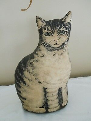 "Vintage Cloth Stuffed Tabby Cat Door Stop or Stand up Figure 14"" Tall Primitive"