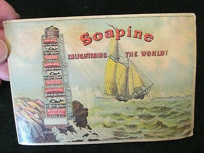 1880s Soapine Enlightening the World Ship Lighthouse Advertising Trade Card
