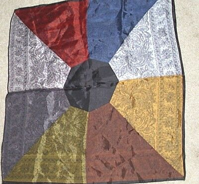 """Vintage multi-color blocked paisley print silk hand rolled pocket square 16""""x17"""""""