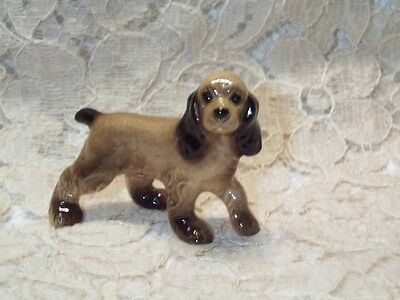 "Vintage Hagen Renaker Miniature Papa Cocker Spaniel Walking Fig Porcelain 11/2""T"