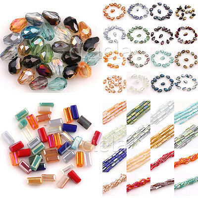 New Lots Faceted Glass Crystal Charms Rectangle&Teardrop Spacer Loose Beads