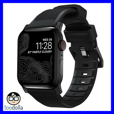 NOMAD Rugged Strap for Apple Watch 42/44mm, Black Silicone, Black steel hardware