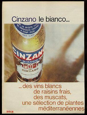 1966 Cinzano bianco bottle photo French print ad