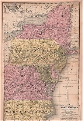 NORTH CAROLINA to NEW YORK, antique hand colored map, MITCHELL, original 1839