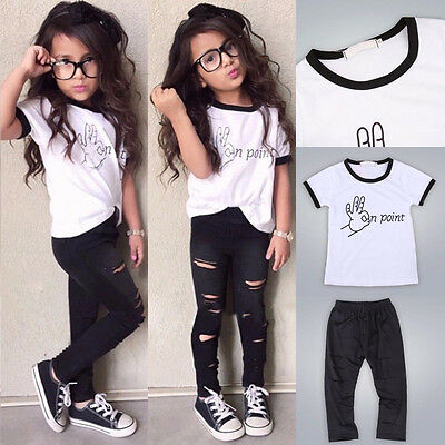 Toddler Kids Baby Girl Tops Shirt +Ripped Pants Outfits Clothes 2PCS Set 2-7Y
