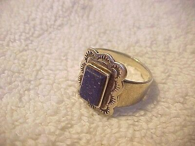 COOL VINTAGE RING STERLING SILVER LAPIS LAZULI STONE NICELY STAMPED sz 6 ADJSTBL