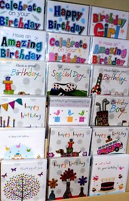 NO 1 SELLER! 150 GENERAL B/ DAY CARDS JUST 21p, WRAPPED, TEXTURED BOARD, BON BON