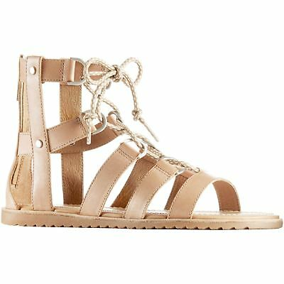 Sorel Ella Lace Up Sahara Womens Leather Flat Lace-Up Strappy Gladiator Sandals
