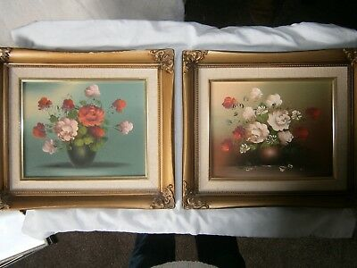 "Vintage Pair Framed Oil On Board 14"" x 12"" Still Life Flowers. Picture Painting"