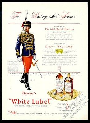 1941 10th Royal Hussars soldier art Dewar's Scotch whisky vintage print ad