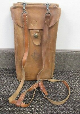 Vintage WWI US ARMY FOLDING LEATHER MAP CASE CARRIER W/FRENCH MAPS & PROVENANCE