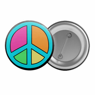 """Colourful Peace Sign Symbol - Badge Button Pin 1.25"""" 32mm Hippy Hippie"""