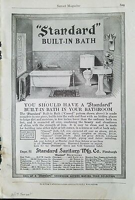 1915 standard sanitary Mcg co built-in bathtub toilet sink vintage ad