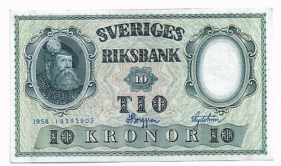 1958 SWEDEN 10 KRONOR NOTE - p43f