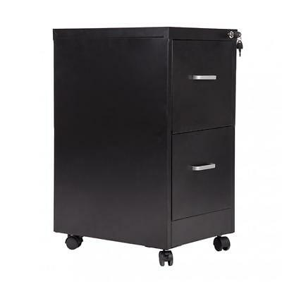 "New 18"" Wide 2 Drawer Letter Size Steel File Cabinet with lock and 4 Wheels"