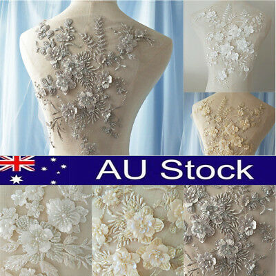 Wedding Dress Fabric 3D Flowers Pearl Beads Lace Sew on Patch Applique DIY Craft