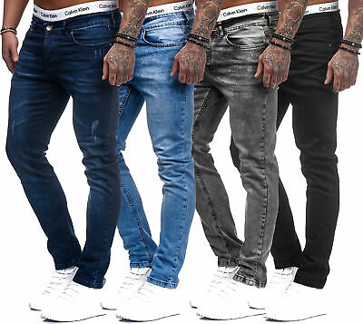 Herren Designer Chino Jeans Hose Basic Stretch Jeanshose Slim Fit W28-W36