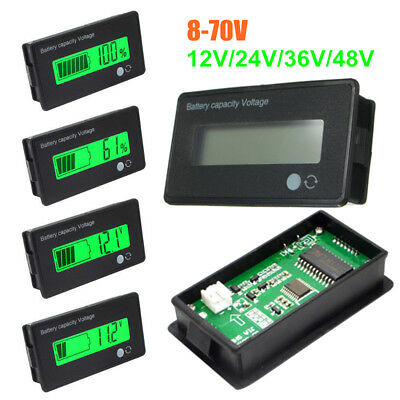 12V 8-70V LCD Acid Lead Lithium Battery Capacity Indicator Volt Tester Voltmeter