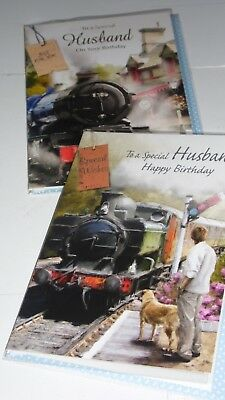 """HUSBAND B/DAY CARDS x12 JUST 28p, foiled, wrapped, 2 designs,5"""" x 7""""( F4"""