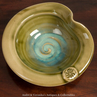 COLM De RIS IRISH Art Pottery Pin Small Dish Bowl Green Turquoise Blue Hand Made