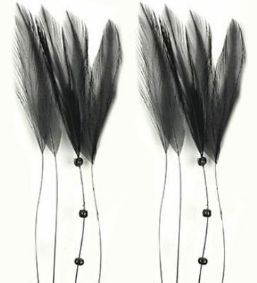 Black Stripped Hackle Coque Feathers Sewing Costuming Fascinators Hats (8)