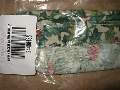 Longaberger Cracker Basket LINER in  American Holly fabric MINT! RARE FREE SHIP!