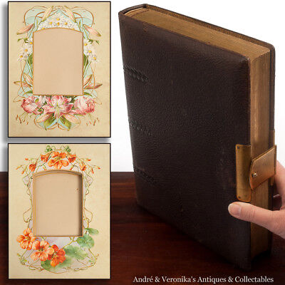 Antique Leather Bound PHOTO ALBUM Floral Border Motifs Holds 44 Brass Victorian