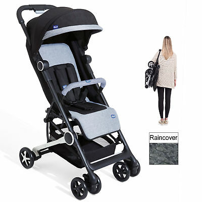 Chicco Mini.mo 2 Lightweight Baby Pushchair Stroller Black Knight With Raincover