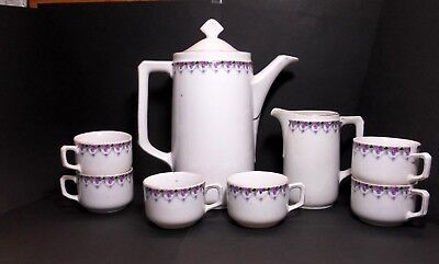 Vintage Unmarked Chocolate Coffee Tea Pot,pitcher And Cups ~ Purple Floral