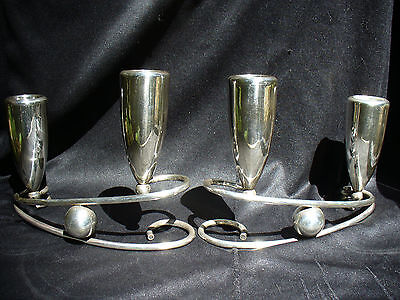 Two Heavy Sterling silver Mexican Modernist Candleholders with Signature Stamp