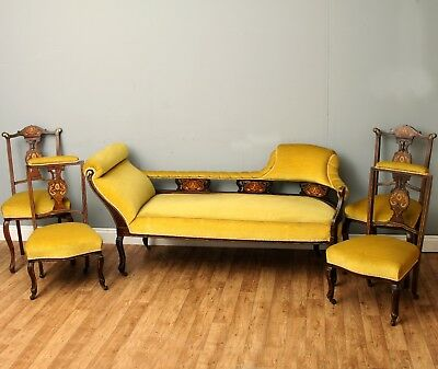 Stunning Victorian Parlour Suite - Chaise Longue Sofa/Day Bed & Bedroom Chairs