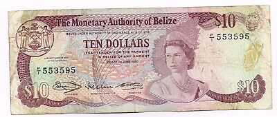 1980 BELIZE 10 DOLLARS NOTE - p40a