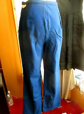 NEW NOS True Vtg 70s Womens 100% WOOL NAVY BLUE WARDS SIDE ZIP PANTS 26x29
