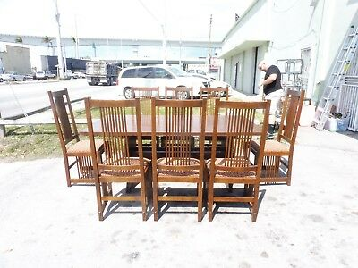 8 Stickley Misson Oak  Art And Crafts Spindle Back Chairs And Trestle Table